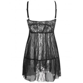 Lace Slip See Through Babydoll - BLACK M