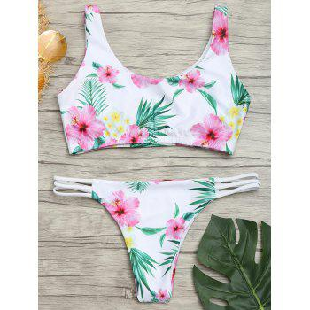 Floral Zip Padded Bikini Set - COLORMIX S