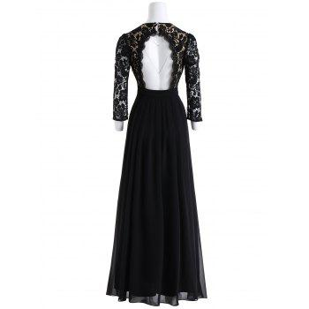 Keyhole Floral Lace Formal Evening Dress - BLACK XL