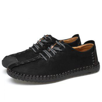 Lace Up Stitching Casual Shoes - BLACK 42