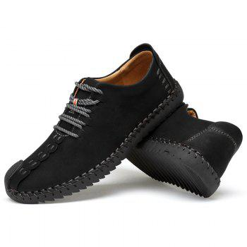 Lace Up Stitching Casual Shoes - BLACK 44