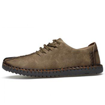 Lace Up Stitching Casual Shoes - KHAKI 41