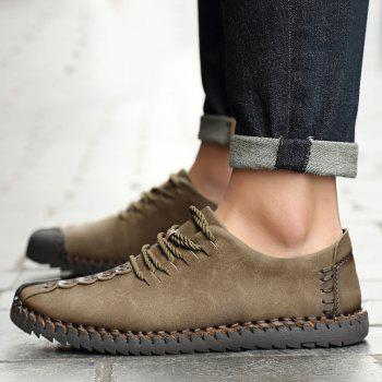 Lace Up Stitching Casual Shoes - KHAKI 39