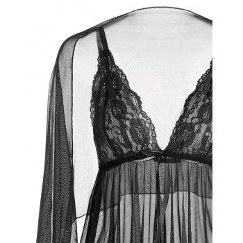 Mesh See Through Slip Babydoll - BLACK L