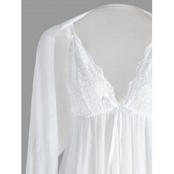 Mesh See Through Slip Babydoll - Blanc XL