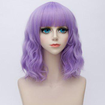 Medium Side Bang Water Wave Ombre Synthetic Party Cosplay Wig - LIGHT PURPLE