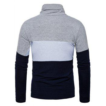 Slim Fit Turtle Neck Color Block Knitted Sweater - CADETBLUE XL