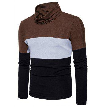 Slim Fit Turtle Neck Color Block Knitted Sweater - BLACK S