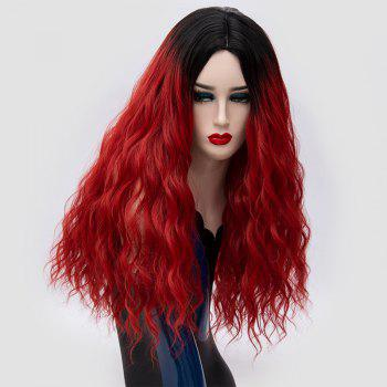 Ombre Long Center Parting Water Wave Synthetic Party Wig - BLACK/RED