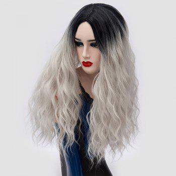 Ombre Long Center Parting Water Wave Synthetic Party Wig - SILVER GRAY