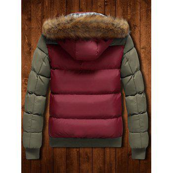 Zip Up Detachable Faux Fur Hood Two Tone Quilted Jacket - RED 2XL