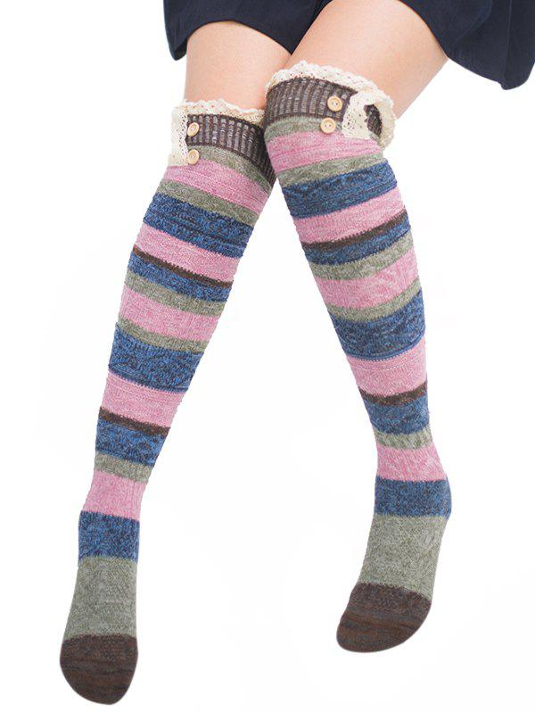 Pair of Button Embellished Striped Knee Highs Socks - COFFEE
