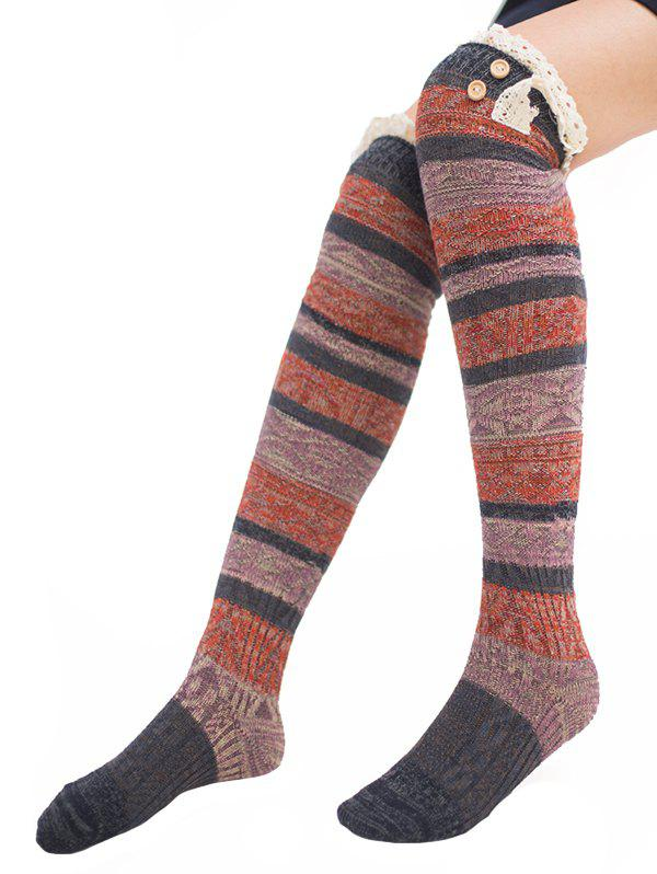 Pair of Button Embellished Striped Knee Highs Socks - DEEP GRAY