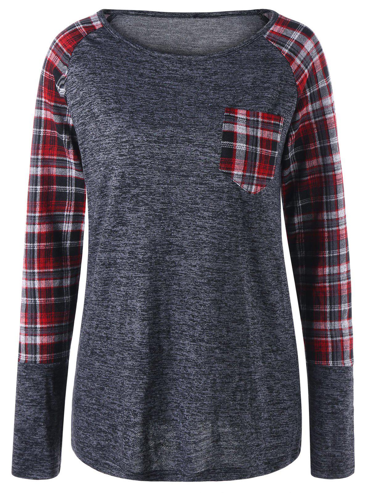 Patch Pocket Raglan Sleeve Plaid Top - GRAY 2XL