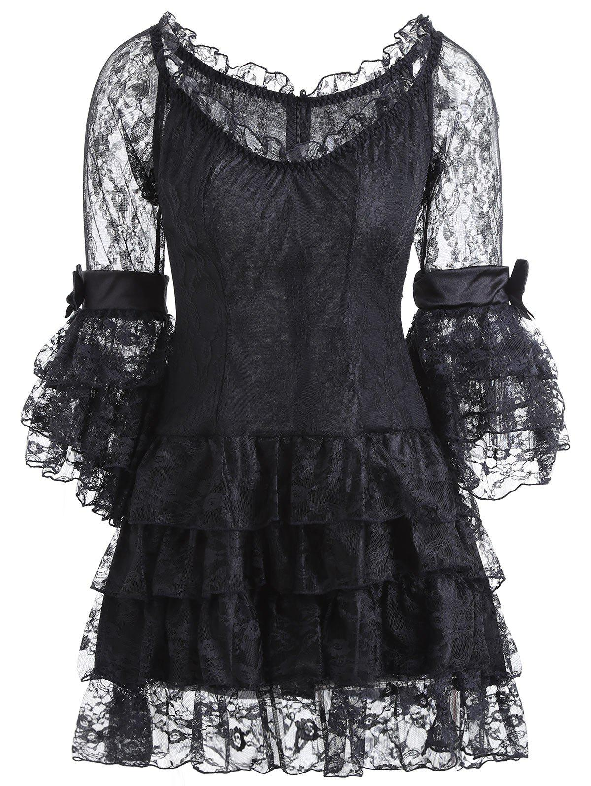 Vintage Corset Top with Sheer Voile Dress