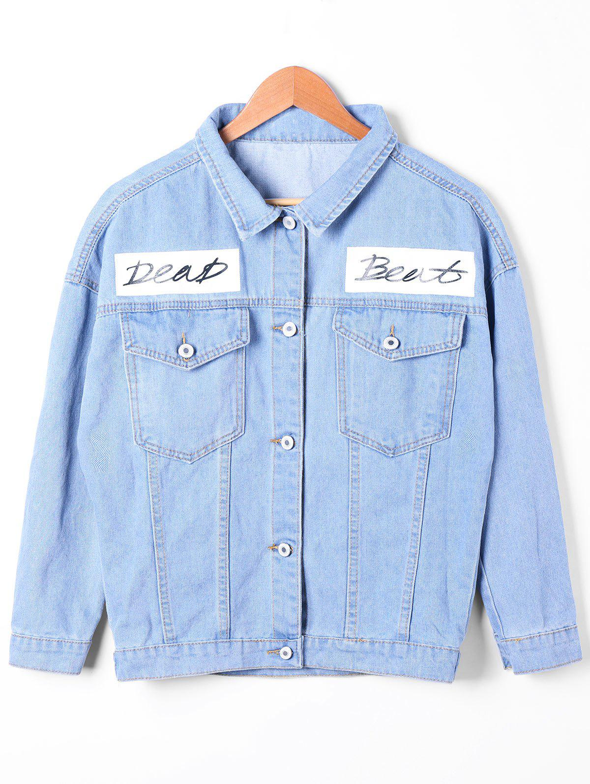 Flap Pockets Faded Denim Jacket - DENIM BLUE M