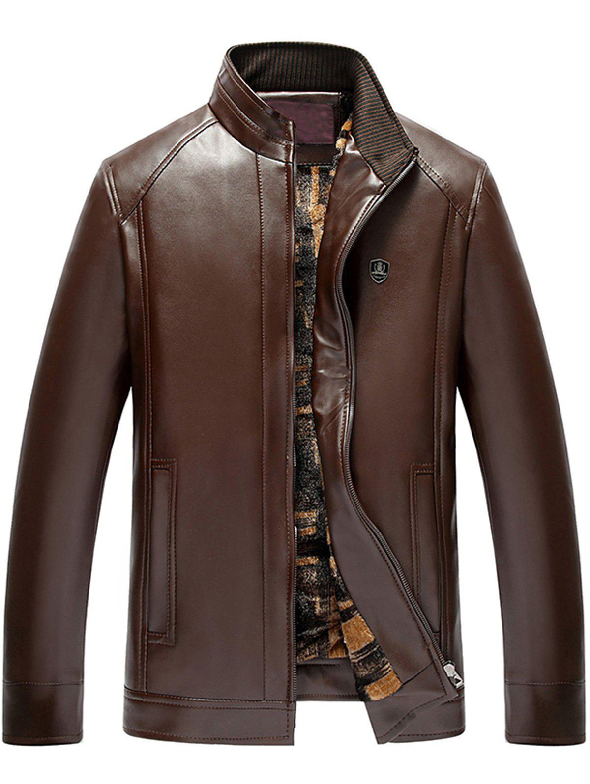 Zip Front Stand Collar Faux Leather Jacket - LIGHT COFFEE 4XL
