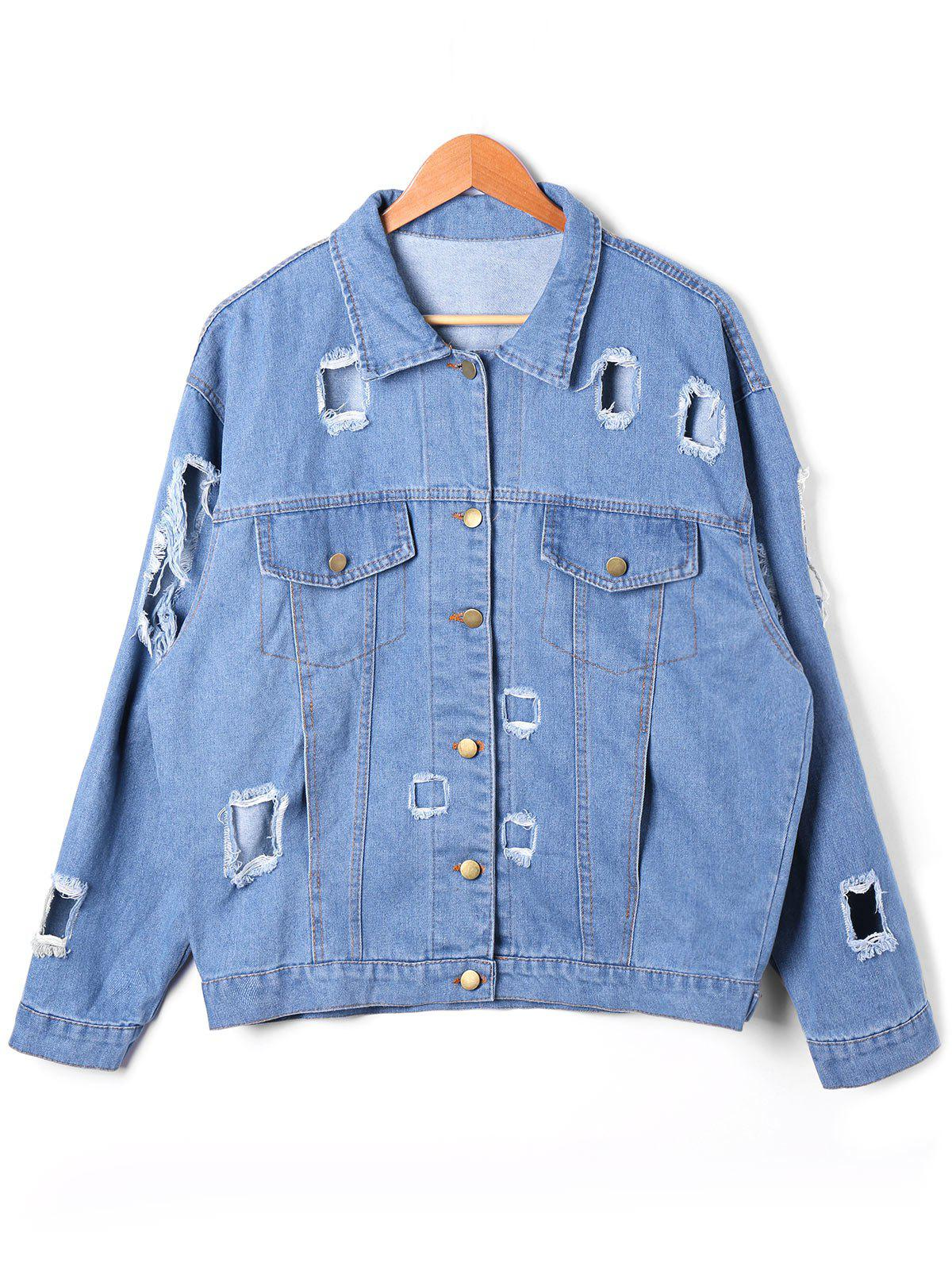 Flap Pockets Destroyed Denim Jacket - DENIM BLUE L