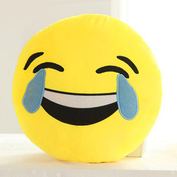 Smile Face Emoticon Pattern Pillow Case - BLUE/YELLOW