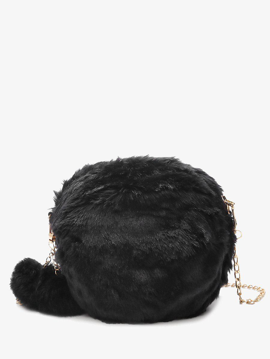 Faux Fur Chain Pompom Crossbody Bag - BLACK