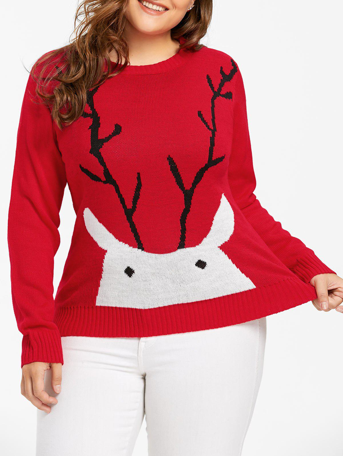 Christmas Elk Print Plus Size Sweater - RED 4XL