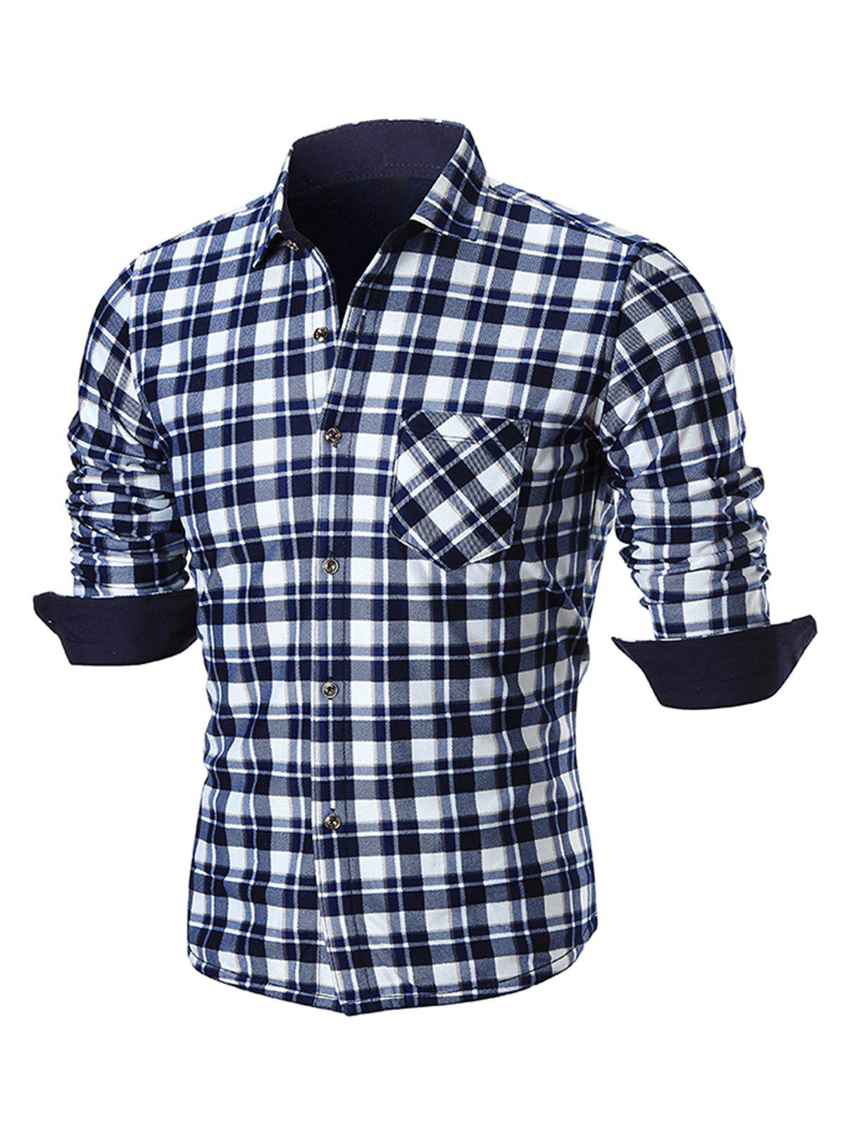 Turn Down Collar Pocket Plaid Shirt - BLUE 4XL