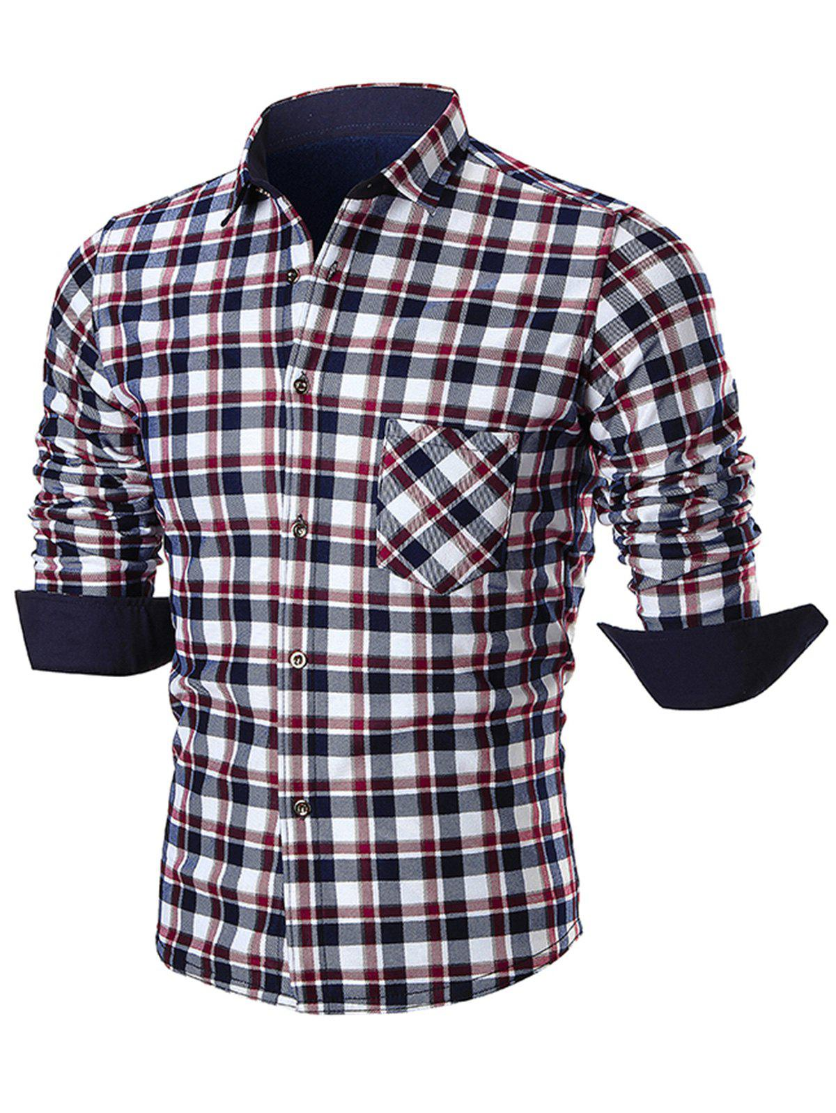 Turn Down Collar Pocket Plaid Shirt - RED 4XL