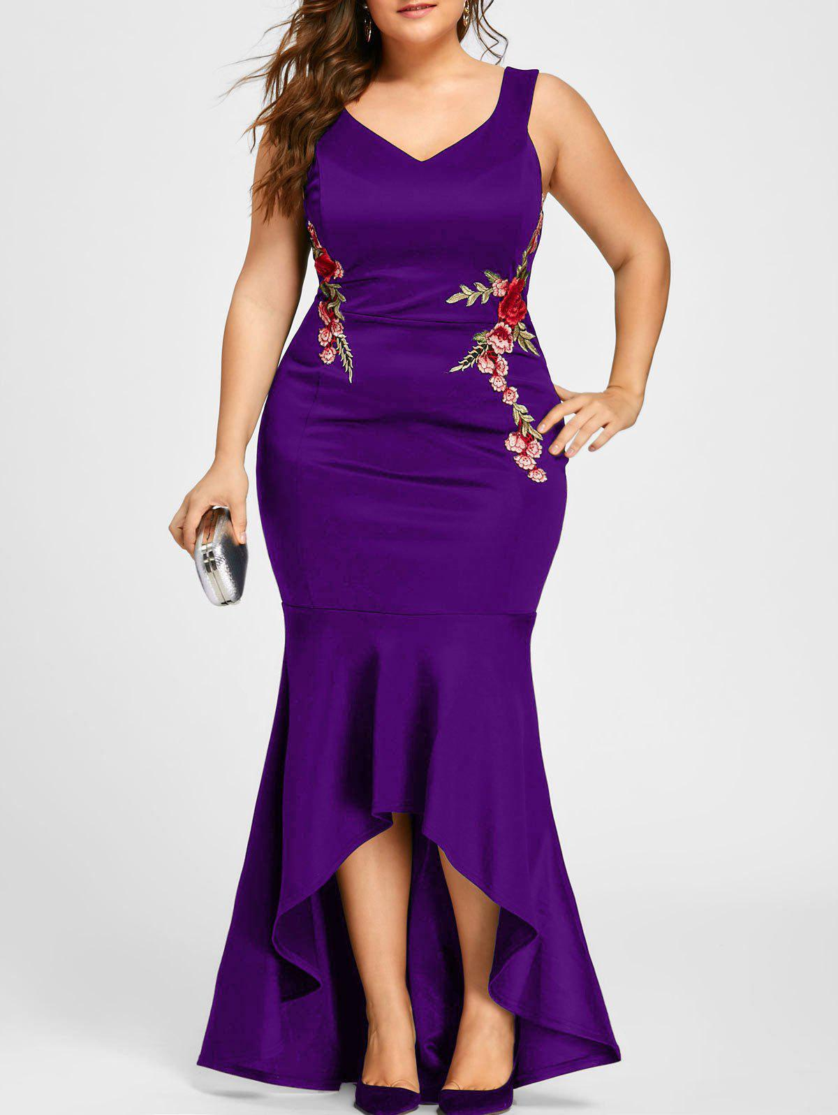 Plus Size V Neck Sleeveless Mermaid Dress - PURPLE XL