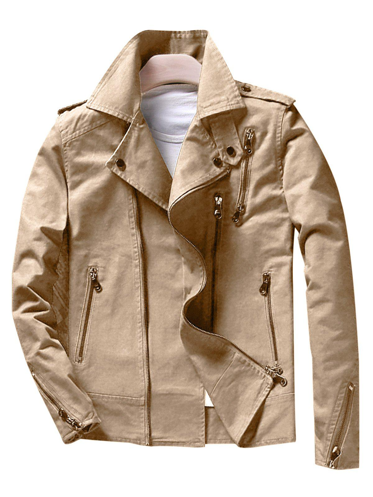 Stylish Asymetrical Zip Moto Jacket - KHAKI M