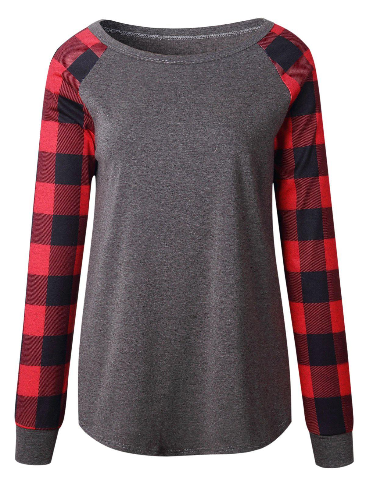 Plaid Panel Raglan Sleeve Top - DEEP GRAY XL