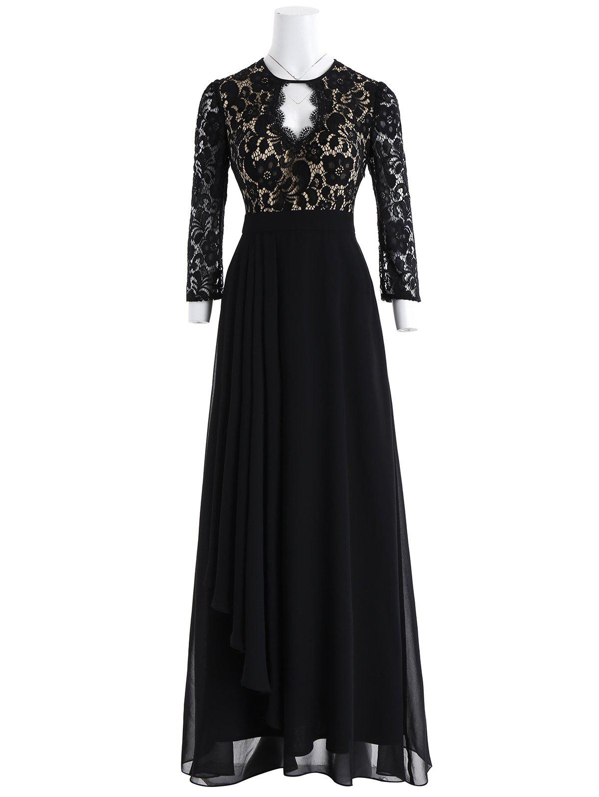 Keyhole Floral Lace Formal Evening Dress - BLACK L