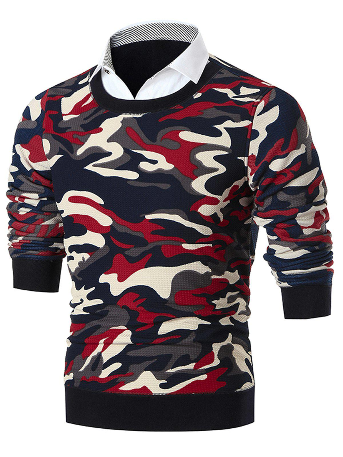 Shirt Neck Camouflage Print Pullover Sweater - RED 3XL