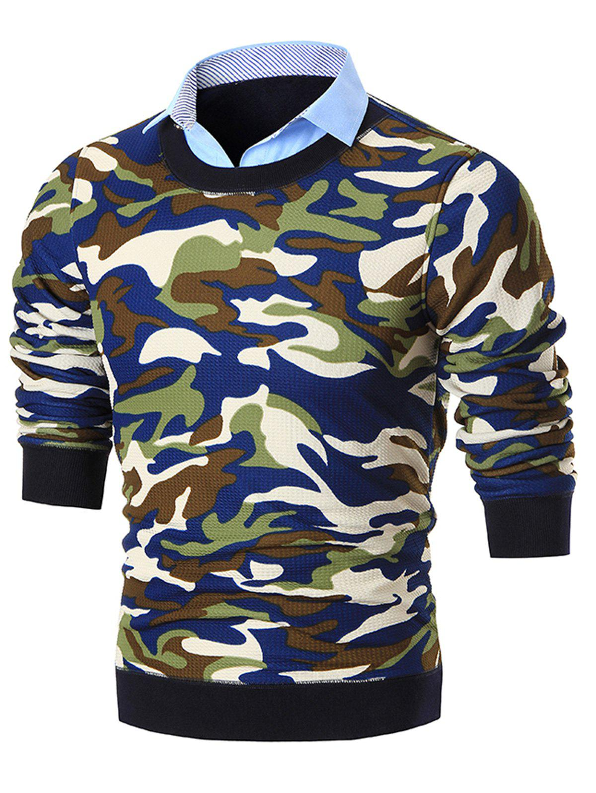 Shirt Neck Camouflage Print Pullover Sweater - BLUE 2XL