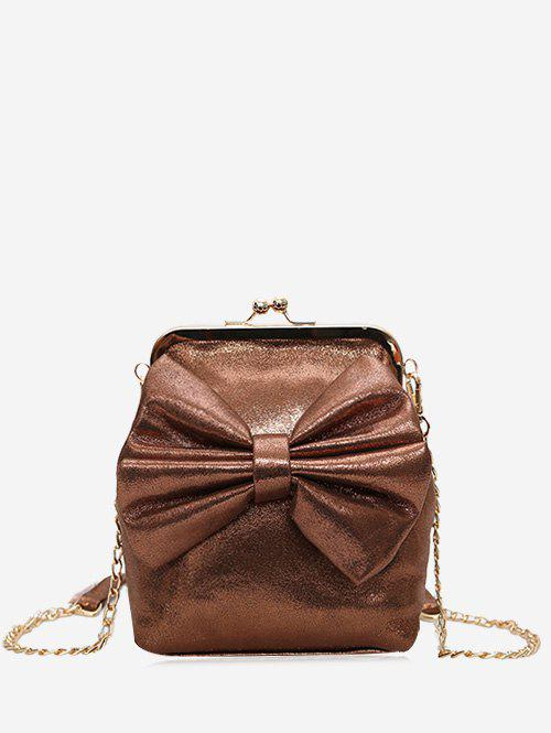 Bow Chain Crossbody Bag - BROWN