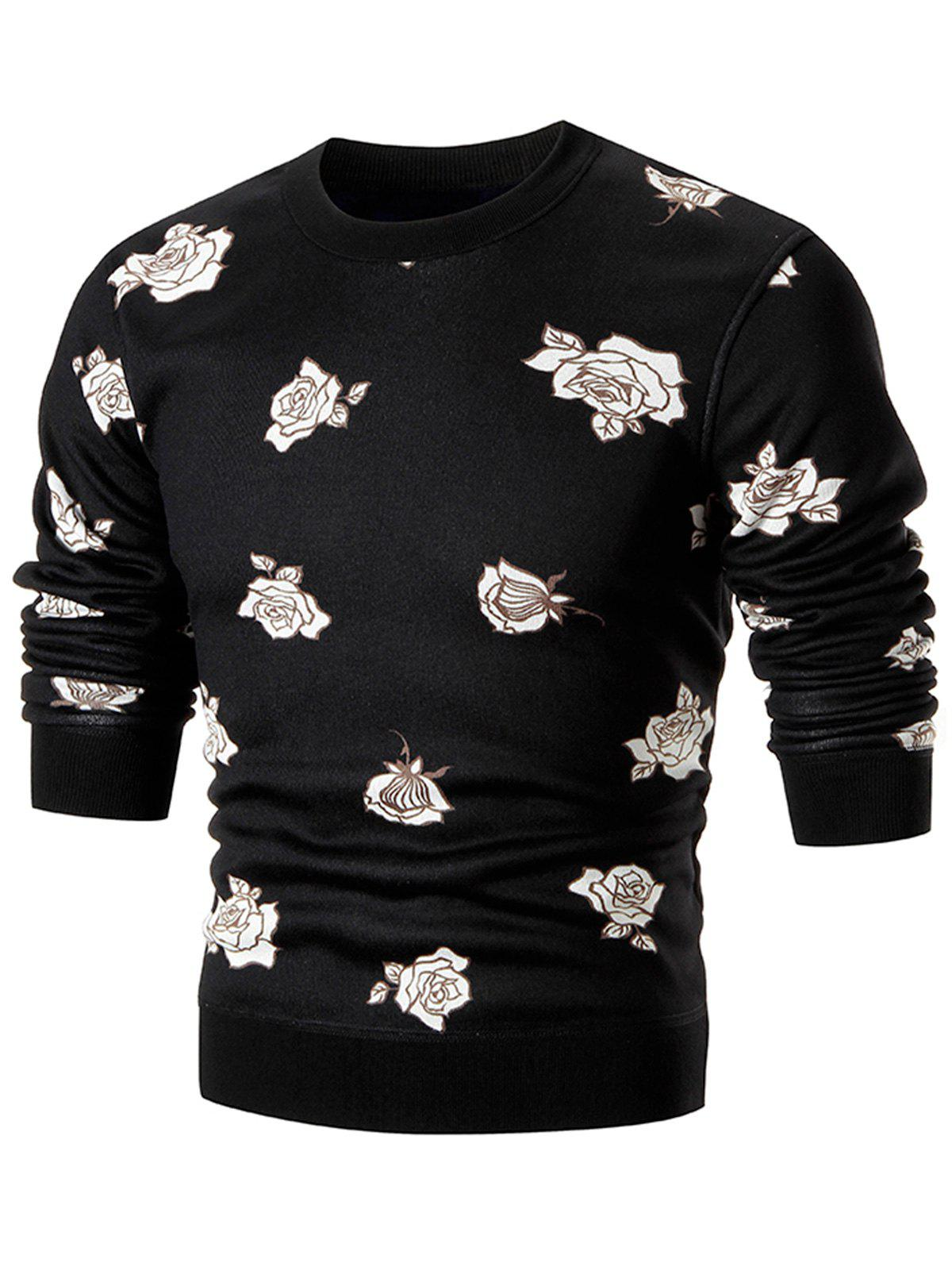 Rose Print Knitted Pullover Crew Neck Sweater - BLACK XL