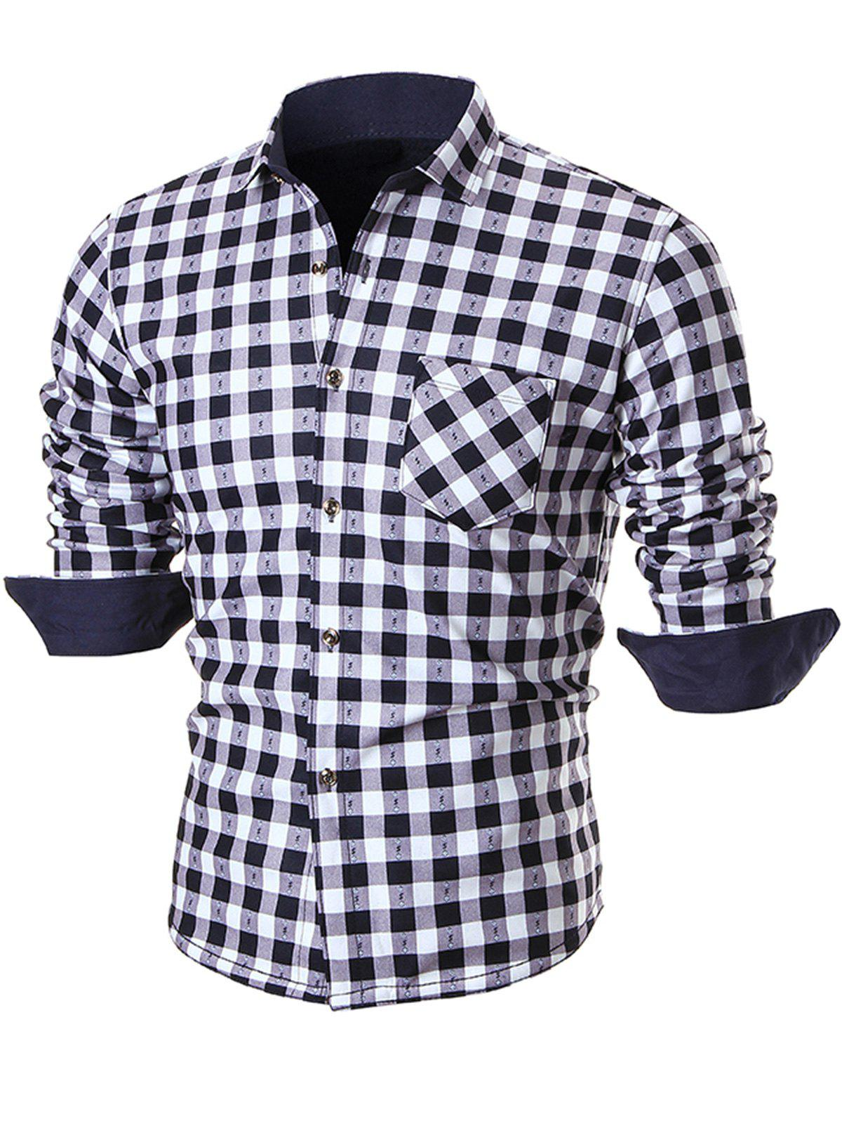 Warm Thicken Turn Down Collar Checkered Shirt - WHITE 2XL