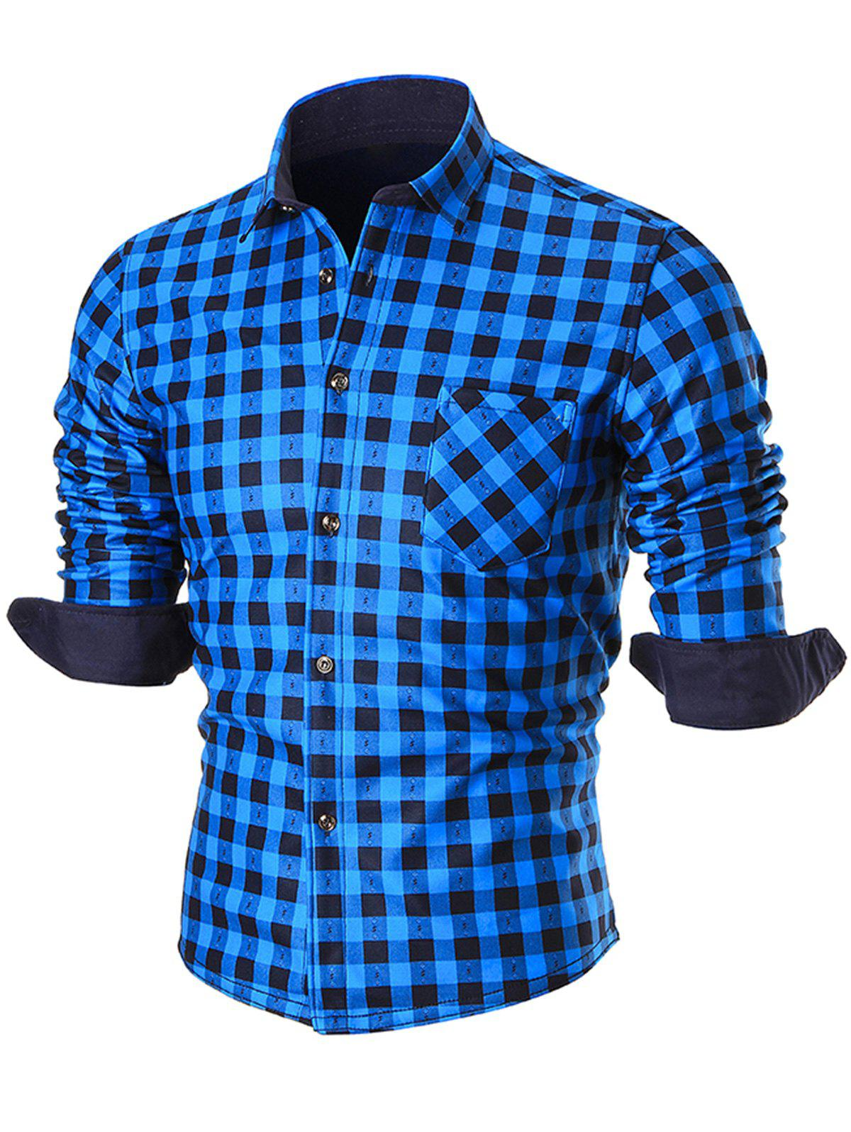 Warm Thicken Turn Down Collar Checkered Shirt - BLUE 3XL