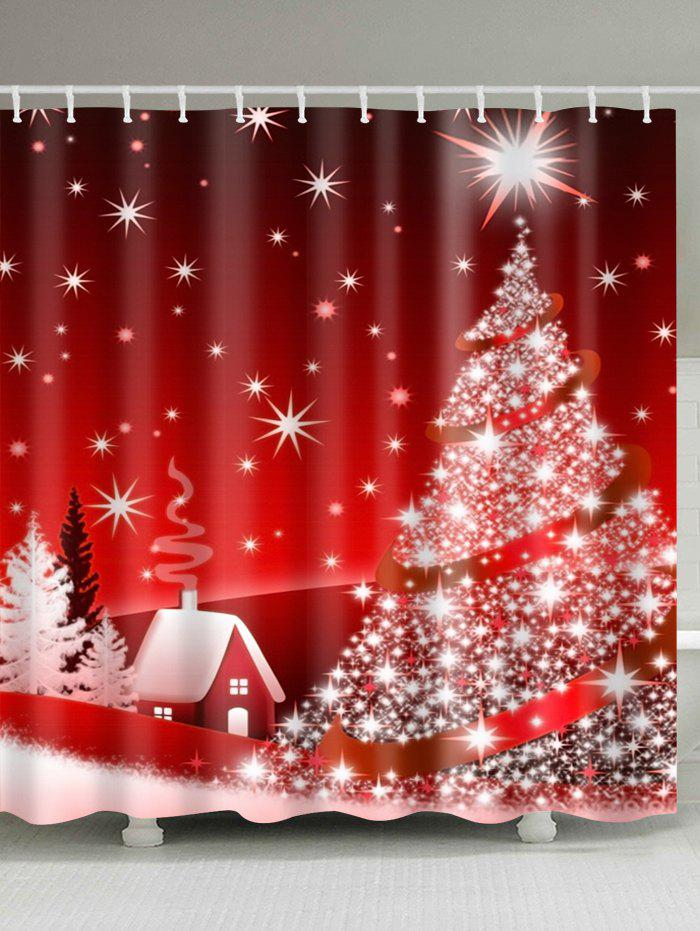 Christmas Tree Polyester Waterproof Shower Curtain christmas tree print waterproof polyester shower curtain