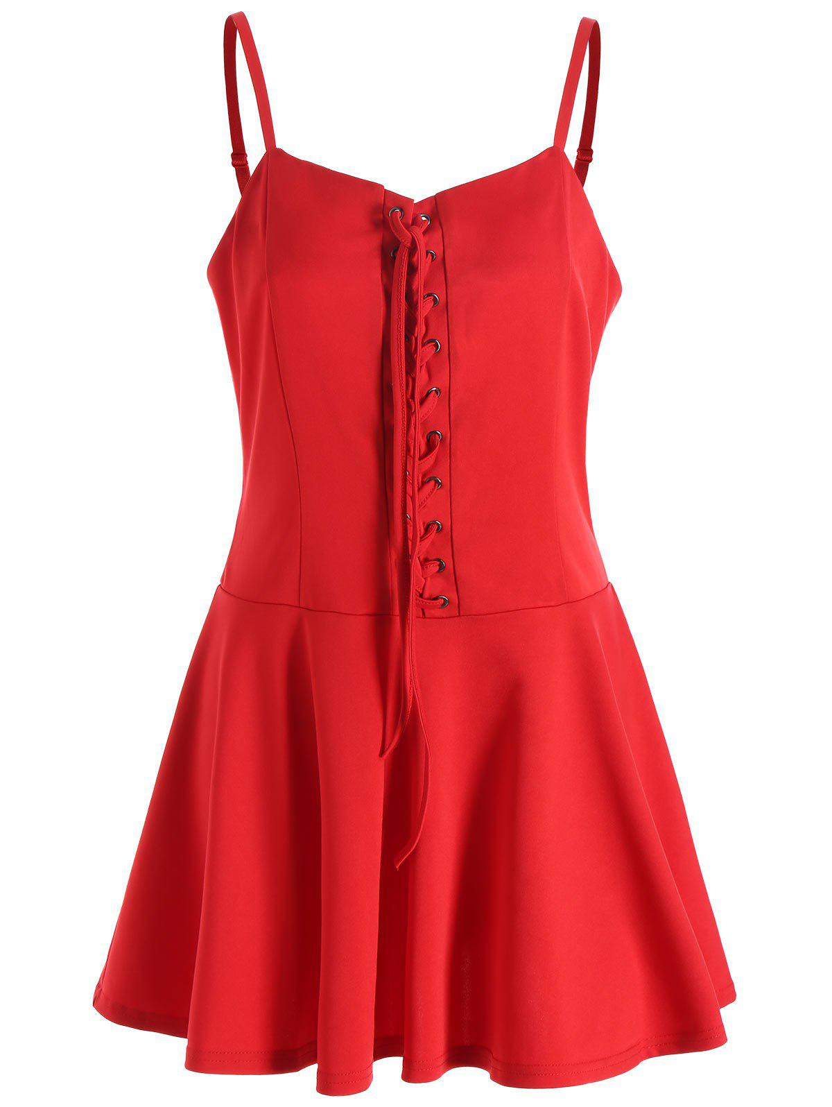 Christmas Lace-up Slip Dress - RED XL