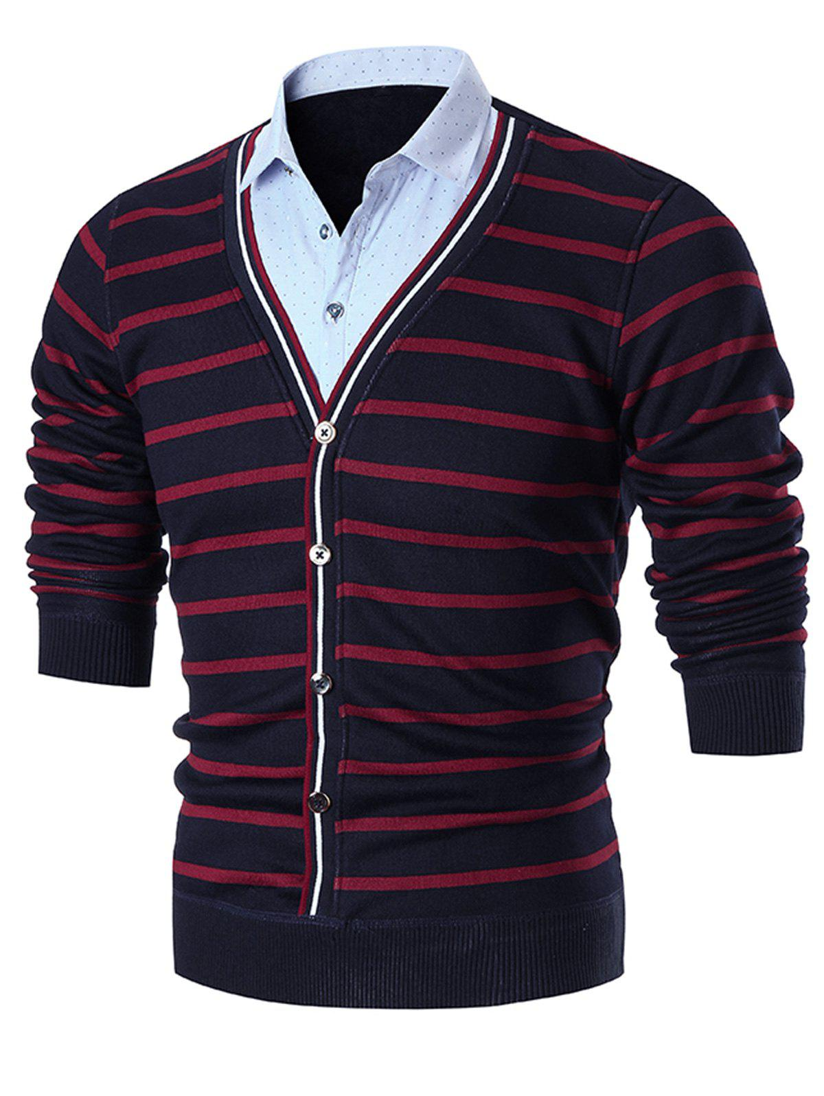 False Two Piece Stripe Cardigan - RED 3XL