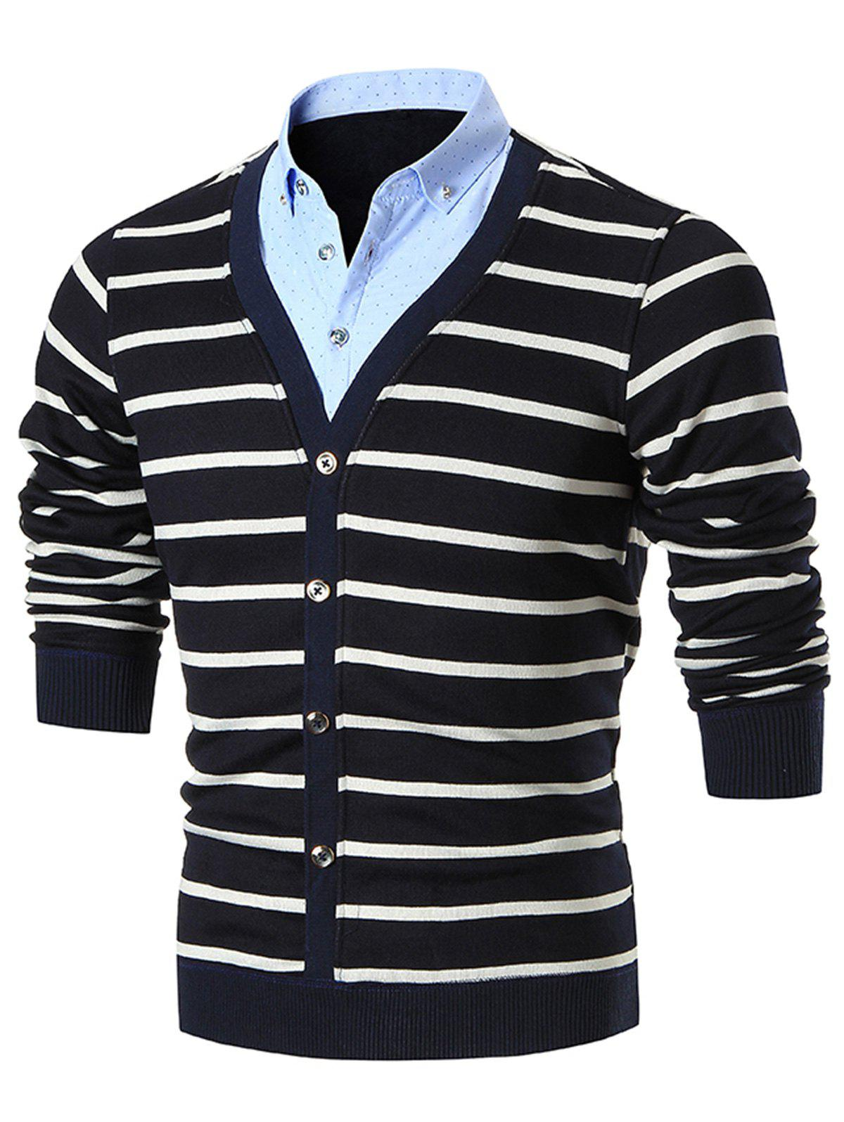 False Two Piece Stripe Cardigan - BLACK 3XL