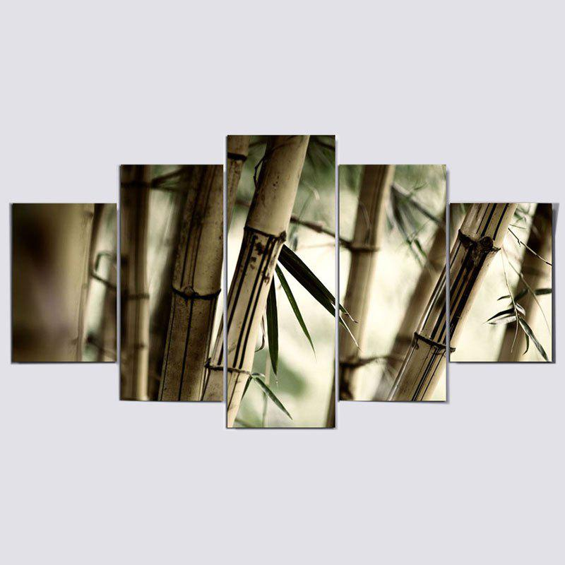 Bamboos Patterned Wall Art Unframed Canvas Paintings - CLOVER 1PC:12*31,2PCS:12*16,2PCS:12*24 INCH( NO FRAME )
