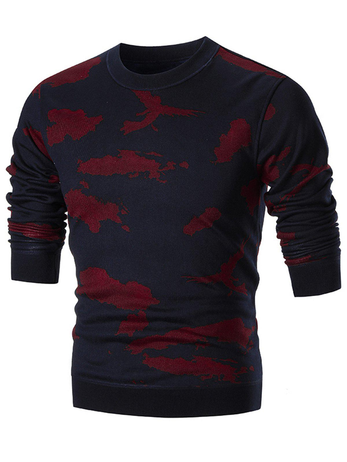 Camo Print Crew Neck Knit Sweater - RED 3XL