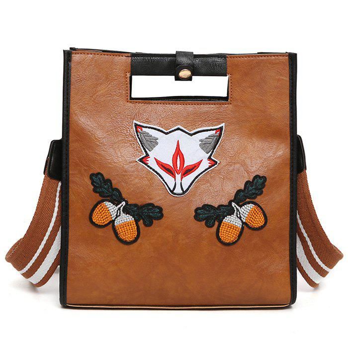 Fruit Fox Embroidery PU Leather Tote Bag - BROWN