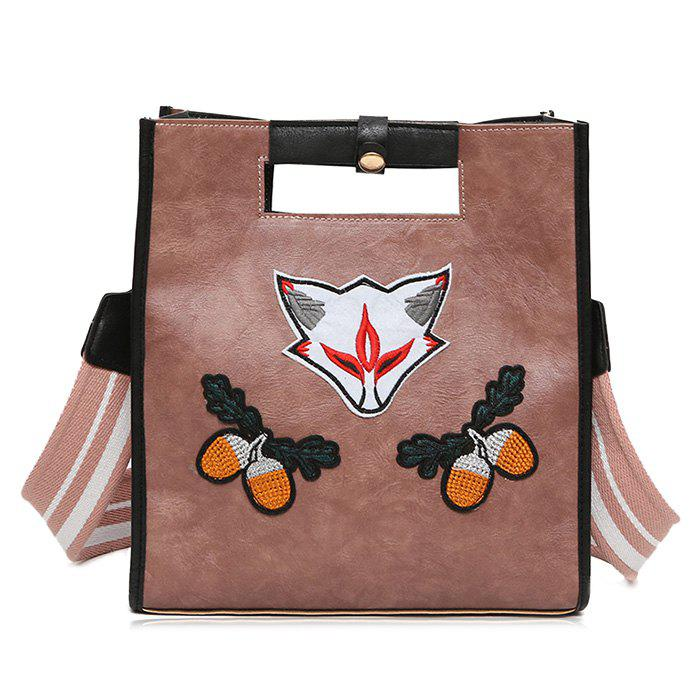 Fruit Fox Embroidery PU Leather Tote Bag - PINK