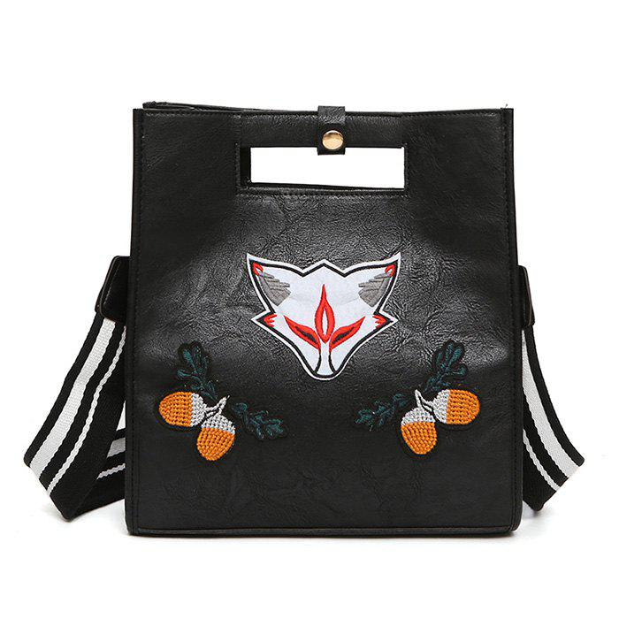 Fruit Fox Embroidery PU Leather Tote Bag - BLACK