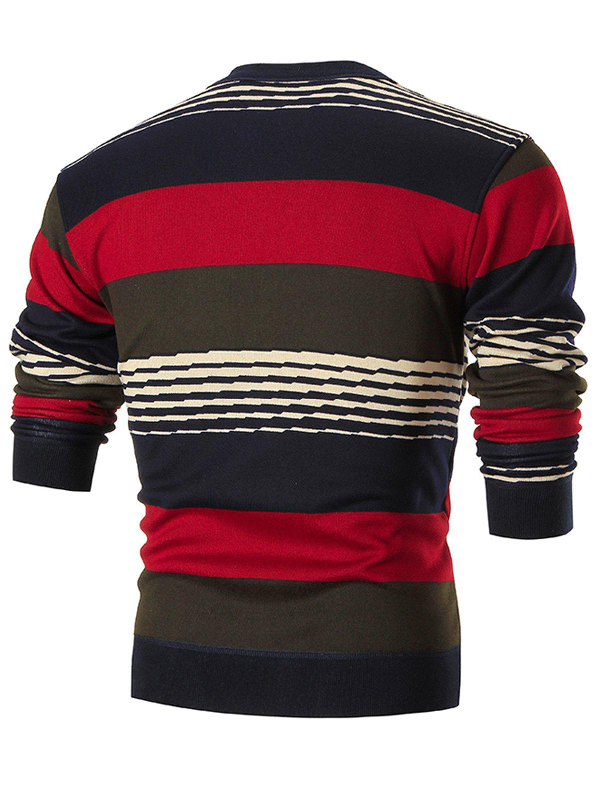 Multi-colored Wide Stripe Pullover Sweater - RED XL