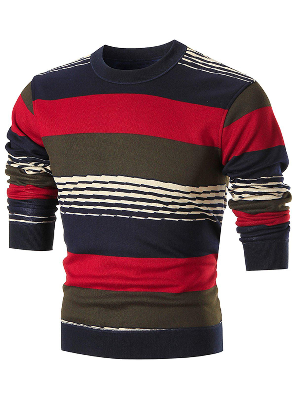 Multi-colored Wide Stripe Pullover Sweater - RED 2XL
