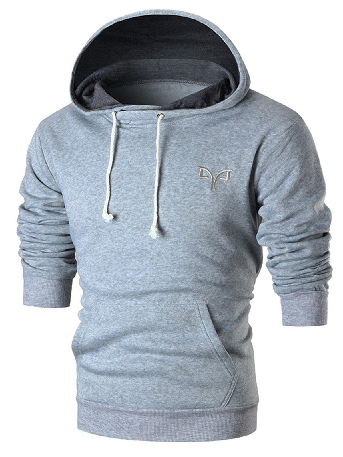 Embroidered Kangaroo Pocket Pullover Hoodie kangaroo pocket star embroidered drawstring pullover hoodie page 8