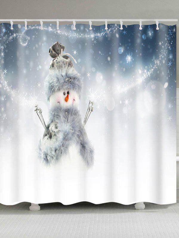 Polyester Waterproof Snowman Print Bath Curtain - WHITE W59 INCH * L71 INCH
